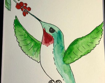 Watercolor painting by artist Sandy Short Ruby throated hummingbird.  handpaintedgourds.com
