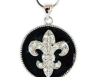 Swarovski Crystal Black Enamel Paint Fleur de Lis Lys  France Paris Lily Flower Flag Necklace Jewelry BFF Mothers Day Christmas Wife Gift