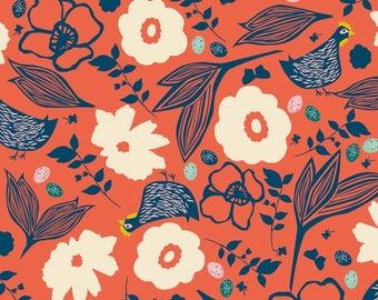 Kids cotton fabric American - Blend Fabrics designer Elizabeth Grubaugh - hens that Peck coral background - 50 cm (110 x)