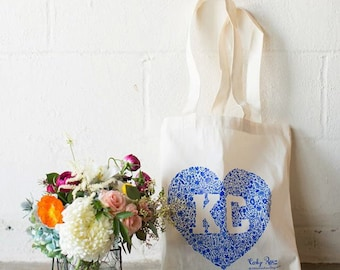 Kansas City Floral Heart Tote - Blue or Red