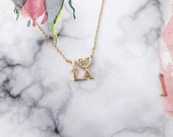Rose Gold I Love L.A Dainty Necklace