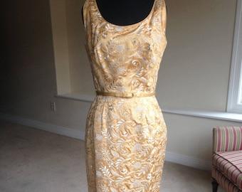 Vintage Gold Brocade Wiggle Pencil Dress 1950 1960