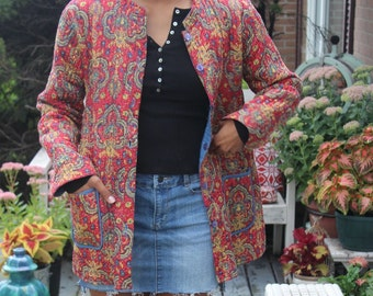 Boho jacket floral quilted bohemian red orange blue fall jacket hippie gypsy women size M medium