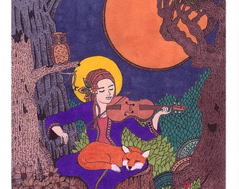 Fox & Violinist Original Art Print