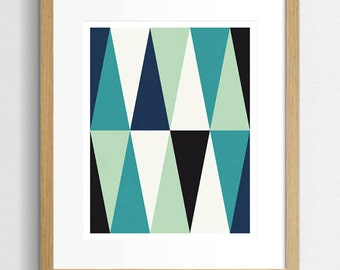 Art Print Abstract, Geometric Print, Blue And Teal Print, Mid Century Print, Geometric Abstract Art, Modern Abstract Art, Contemporary Art