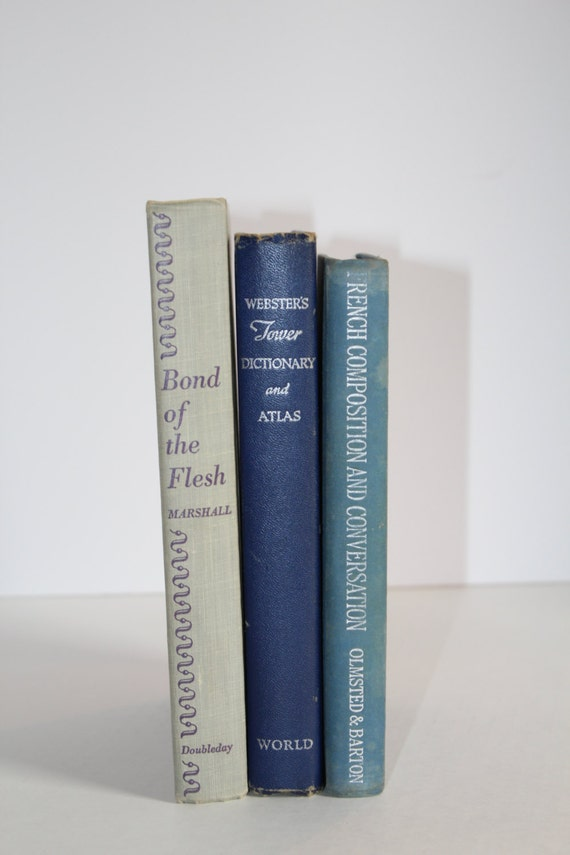 Vintage Blue Book Bundle Home Decor Photography Prop Wedding