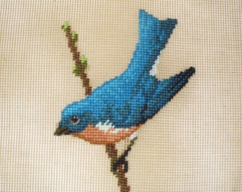 Blue Bird Preworked Needlepoint Canvas, Vintage New Old Stock, 14 x 14 Inches, Blue Bird Bench Cover