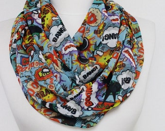 Boom Bang Infinity scarf, Colorful Funny scarf, Circle scarf, spring - fall - summer - winter fashion