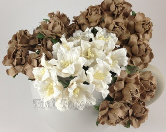 30 Tan Roses and White Earthy Lily Mulberry Paper Flowers Scrapbook Craft Wedding Supply Card Making 148-RLYL15