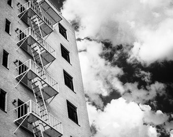 stairway to heaven fire escape clouds sky dramatic retro midcentury black and white print fine art photography