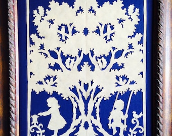 "PAPER CUT Under the Oak, ORIGINAL Art  Handmade Scherenschnitte, fits 8 x 10"" frame"