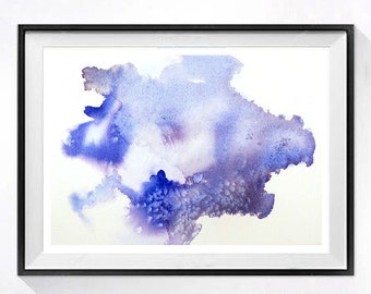 Abstract Art Watercolor Print Fluid modern pastel Zen color Contemporary modern abstract blue painting Abstract poster Christmas Time Sale