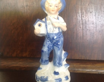 Vinatge Hand Painted Porcelain Farm Boy