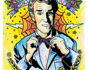 """8x10"""" or 12x18"""" Art Print Poster Bill Nye the Science Guy - Science Rules - tattoo art science"""