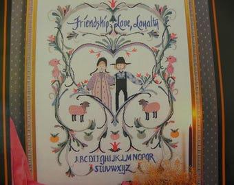 P Buckley Moss Cross Stitch Pattern - Friendship Sampler - June Grigg designs Inc. - Leaflet 115