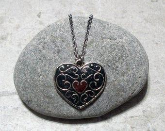 Dark Teal Heart Necklace Pendant Antique Silver