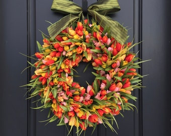 Orange and Yellow Tulips, Front Door Tulip Wreath, Tulip Wreath for Door, Door Wreath Tulips, Orange Tulips Door Wreaths