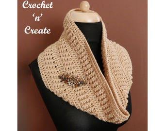 Crochet Ribbed Cowl Crochet Pattern (DOWNLOAD) CNC108