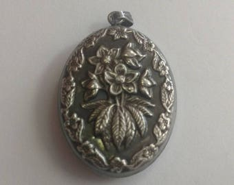 Sterling Silver Puffy Floral Locket Style Pendant