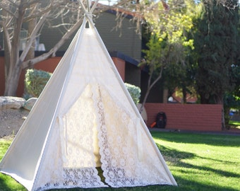 Glamour Lace teepee tent/kids teepee Play tent/ girls lace Tipi Wigwam or Playhouse ruffle photo prop tent