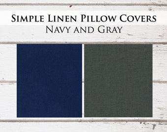 Navy and Gray Linen Pillow Covers