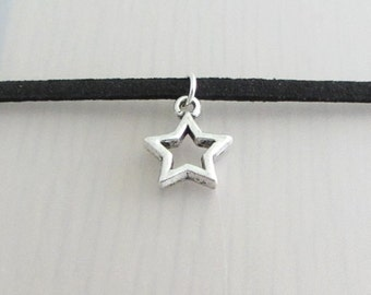 Silver Hollow Star Charm Black Faux Suede Choker Necklace, 3mm Width Black Faux Suede Choker Necklace, Silver Star Necklace, Space Choker