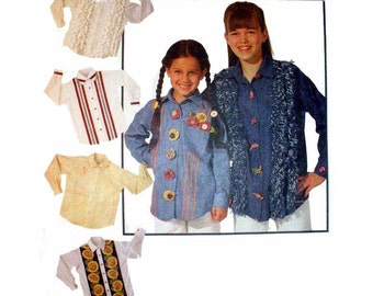 """Girl's Shirt Sewing Pattern, Button Up Front, Loose fitting, Long Sleeves' Child Size 7, 8, 10 Bust 26, 27, 28.5"""" Uncut McCall's 6894"""