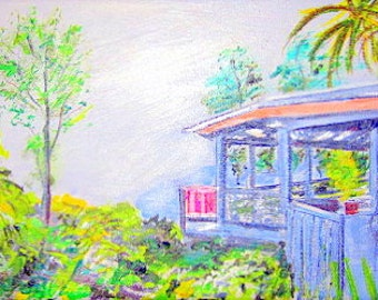 Hinterland Hideaway-an original ink and acrylic painting on canvas