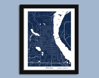 Stillwater map, Stillwater city map art, Stillwater wall art poster, Stillwater MN decorative map