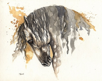 Grey andalusian horse, equine art, equestrian portrait,  original ink and watercolors painting on paper