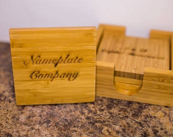 Bamboo Wood Coaster Set (set of 4)