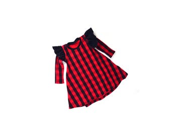 buffalo plaid dress, girls plaid dress, flutter sleeve dress, Christmas dress, baby Christmas dress, toddler Christmas dress,