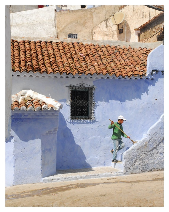 fine art photography, travel photo Morocco, Urban, blue, green, 8x10, Home Decor, Wall Art