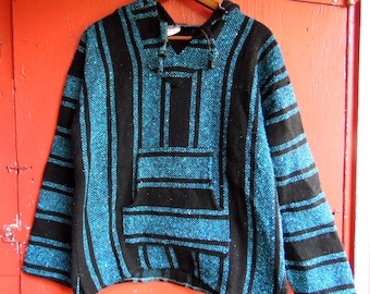 80s/90s Turquoise Storm Acrylic Drug Rug Stoner Hippie Hoodie Unisex Pullover Sweater M