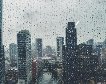 Rainy window view of the Chicago River. Chicago, IL. Photography Print. Portrait. Wall Art. Home Decor. Urban. Nightscape. Look up. Skyline