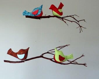 Bird Hanging Mobile on NatIural Manzanita Tree branch - Made to Order