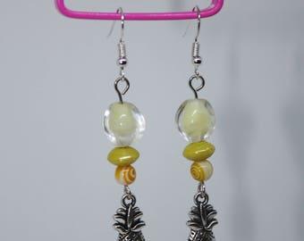 Tibetan Silver Pineapple yellow beaded earrings
