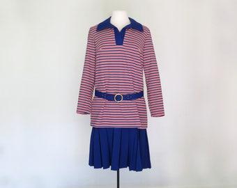 MARA // mod late 60s or early 70s schoolgirl dress with self-belt