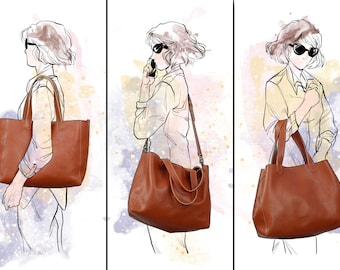 Italian LEATHER TOTE BAG, Shoulder bag, Oversize bag, Bags and purses, vegetable tanned