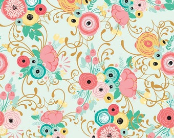Just Sayin' Fabric Collection by Jen Allyson - My Mind's Eye - Riley Blake - By The Yard - Main Floral Print on light mint- C