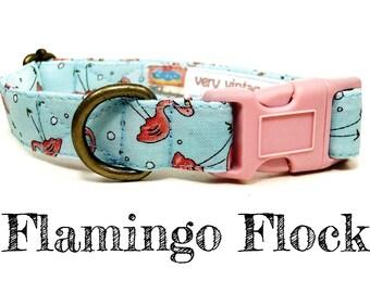 """Whimsical Pink Flamingo Summer Vintage Inspired Light Blue Dog Collar - Antique Metal Hardware - """"Flamingo Flock"""""""