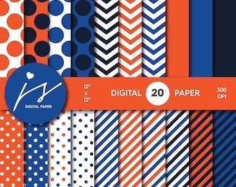 Orange, royal blue, navy blue digital paper with polka dots, chevron, stripes and solid digital scrapbook paper, MI-740
