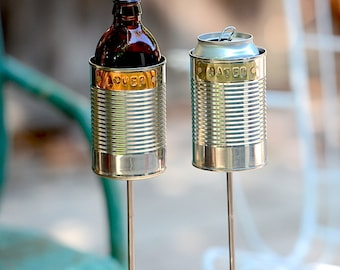 Lover + Hater- 2 Hobo Tin Can Beer Holders/ Garden Drink Holders