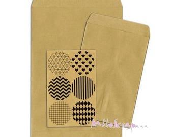 Set of 6 decorative envelopes, paper bag kraft BO BUNNY scrap 7 (ref.210) *.