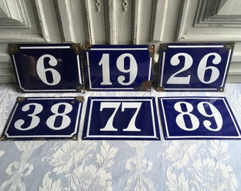 1 Enamel house number, house numbers, genuine vintage French blue and white, 19,26,38,77,89 nos house, antique enamelware, wall plaque.