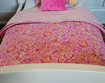 "18"" Doll Bedding Set, Pink and Yellow Paisley Comforter, Made to Fit 18"" Dolls Such as The American Girl & Our Generation Dolls"