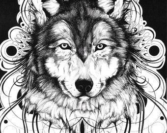 Wolf pen and ink drawing, 11*14 original