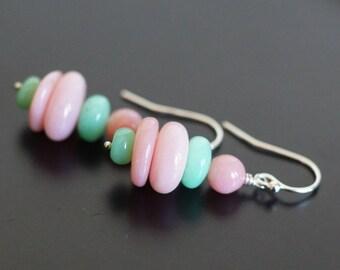 Chrysoprase earrings, Pink opal earrings, Pink Opal jewelry gift, Chrysoprase jewelry, green earrings, Chrysoprase gift, pink earrings