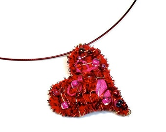 Valentines Day Red Heart Necklace, Fiber Art,  Wearable Art, Upcycled Jewelry