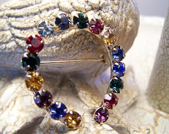 Multi-Colored Vintage Good Luck Horseshoe  Brooch - 1970's - Metal - Rhinestones